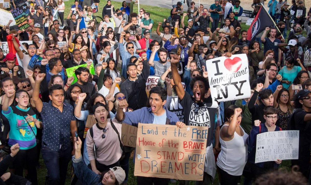 At Columbus Circle in Manhattan, New York, people protest the reversal of DACA.